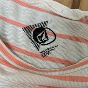Volcom Tops - Volcom Ivory Pink Striped Lived in Tee
